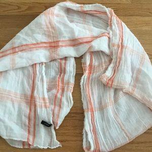 JCREW orange and white plaid scarf